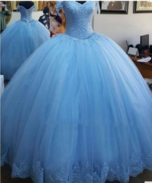 Wholesale Soft Blue Quinceanera Dresses - Sweet 16 Princess Light Blue Mint Green Lace Quinceanera Dresses 2017 Ball Gowns V Neck Floor Length Soft Tulle Pageant Gowns