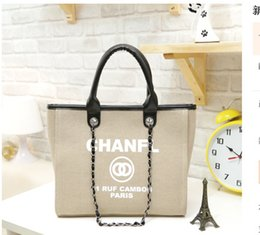 Wholesale Bucket Bag Chain - High Quality Shopping Bags Classic Letter Canvas Handbags Luxury Brands Women Shoulder Bags Chain Bags