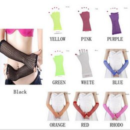 Wholesale Rock Gloves - Fishing Net Womens Fingerless Gloves Gothic Punk Emo Rock Costume Fancy Dress Sexy Hens Elbow Lace Gloves