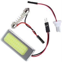 Wholesale headlight dome - 10pcs 6W 12V COB White Light LED Car Reading Lamp Interior Panel Lamp Dome Adapter