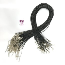 Wholesale Onyx Glass - Cheap Black Wax Leather Snake Necklace Beading Cord String Rope Wire 45cm Extender Chain with Lobster Clasp DIY jewelry compon free shipping