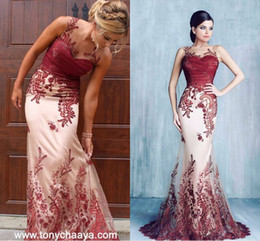Wholesale Dresses Evening Tony - Tony Chaaya Burgundy Lace Detail Mermaid Long Evening Dresses 2018 Sheer Neck Full length Custom Make Occasion Prom Party Gowns Wear