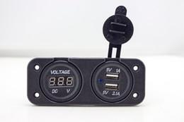 Wholesale Power Meter Socket - Wholesale- Dual USB Car Charger for Motorcycle Car Waterproof Socket Power Adapter Voltmeter Digital Voltage Meter Display For Phone IPod