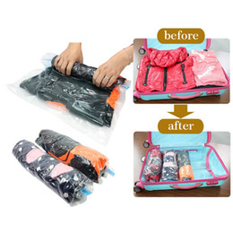 Wholesale Vacuum Bags Free Shipping - Wholesale- Travel Vacuum Storage Bag For Clothing Seal Pouch Hand Rolling Vacuum Compressed Bag Space Saver Organizer Free Shipping 272