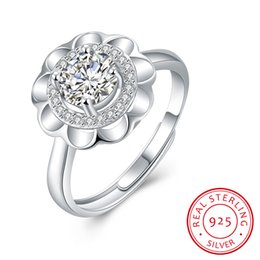 Wholesale Open Diamond Ring Flower - ZNM Jewelry New Romantic flowers open rings for women wholesale anel solid 925 Sterling silver fine jewelry wedding bands CZ diamond