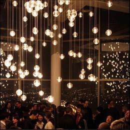 Wholesale Led Lit Shower Knob - HI-Q LED Crystal Glass Ball Pendant Lamp Meteor Rain Ceiling Light Meteoric Shower Stair Bar Droplight Chandelier Lighting AC110-240V