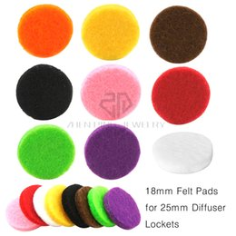 Wholesale 25mm Round - Free Shipping Round Colorful 18mm Felt Replacement Pads for 25mm Essential Oil Diffusing Perfume Locket Pendant Locket