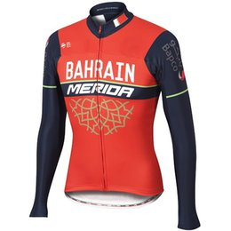 Wholesale Merida Team - WINTER FLEECE THERMAL 2017 BAHRAIN MERIDA PRO TEAM RED ONLY LONG SLEEVE CYCLING JERSEY SIZE:XS-4XL