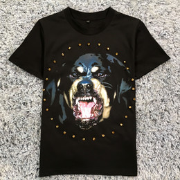 Wholesale Dog Shirt Woman - 2017 Summer dog head champagne Rhinestone loose round neck hedging cotton men and women lovers short-sleeved T-shirt
