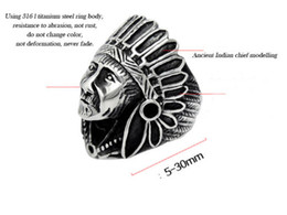 Wholesale Native American Indians - Real solid Quality Titanium Steel INDIAN Native American Chief Geronimo Ring Headdress 6-12# epacket free shipping fast