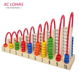 Wholesale Counting Abacus - Wholesale- Multicolor Wooden Abacus Soroban Toys Children Counting Calculation Shelf Blocks Montessori Learning Educational Math Toys