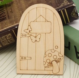 Wholesale Wooden Plaques Wholesale - Wooden Fariy Door 3mm Unpainted Plaque Laser Cut Wooden Fairy Faerie Elf Doors Craft