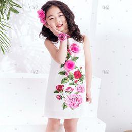 Wholesale Dress Girls Handmade - W.L.MONSOON Girls Rose Flower Dress Summer 2017 Brand Handmade Children Princess Costumes Kids Dresses Robe Enfant Girls Clothes