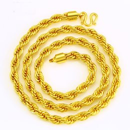 Wholesale Men S Gold Chain Necklace - Fashion Classic Jewelry Men 's Necklace 24K Gold Plated Twisted Rope Twist Chain Necklace Chain Length A4014