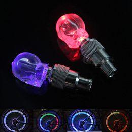 Wholesale Valve Tyre Mix - Skull MIX LED Flash Light Neon Lamp Night Bike Car Tire Tyre Wheel Valve Bicycle Bike Light Caps SM023