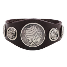 Wholesale Wholesale Native American - Wholesale- Leather Cuff Bracelets Navajo Leather Bracelet Mens Punk Charm Bracelet Indian Native American Jewelry Leather Men Jewelry