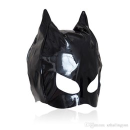 Wholesale Half Face Sex Mask - Hot sexy Female Sex Bondage Fetish Leather Mistress Cat Hood Adult Half Face Mask Masquerade Costume