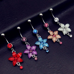 Wholesale Plastic Flower Rings - 10pcs Gift Rhinestone Flower Belly Ring Dangle Piercing Colorful Body Jewelry Nombril 316L Surgical Steel Body piercing