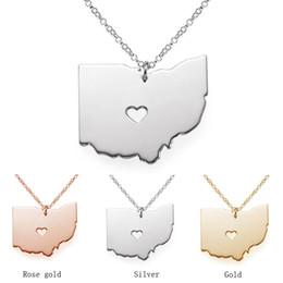 2019 celebridade, corrente, gargantilha Mapa de Ohio Colar de Pingente de Aço Inoxidável com Amor Coração EUA Estado OH Geografia Mapa Colares de Jóias para Mulheres e Homens