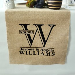 Wholesale Personalized Runner - Wholesale-Personalized Table Runner-Rustic Wedding Decor Burlap Table Runner Custom Linens - Wedding Gift