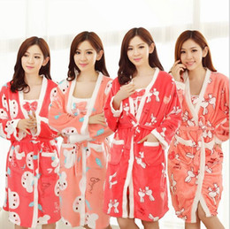 Wholesale Comfortable Sexy Sleepwear - Wholesale- Free shipping Fall Winter Sexy Bathrobe For Women Robe Gown Sets comfortable casual pajamas homewear Robe Long-sleeved sleepwear