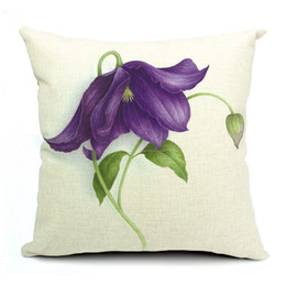 Wholesale Leaf Throw Pillows - Customs Sofa   Bed Throw Pillow Case New Purple Flower With Leaf Cotton Linen Zippered Pillowcases 16   18  20   24 Inch