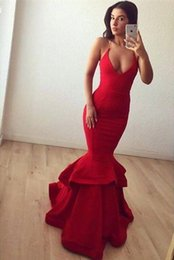 Wholesale Cheap Elastic Skirts - Red Scoop Neckline Mermaid Long Prom Dresses 2017 Halter Sexy Backless Tiered Skirts Cheap Long Evening Gowns Celebrity Fashion Wear