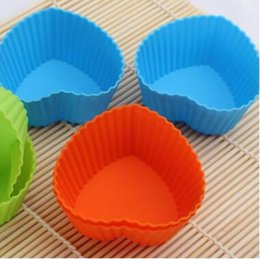 Wholesale Cupcake Silicon - Molds Muffin Cup Heart-shaped Silicone Cake Baking Round Shaped Jelly Mold Silicon Cupcake Pan Party Accessory Baking Cup Mold Free Shipping