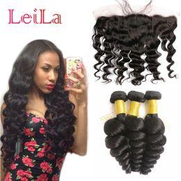 Wholesale Brazilian Weave Closure Piece - Cheap Brazilian Human Virgin Hair Loose Wave 3 Bundles with Lace Frontal 13 X 4 Closure 4 Pieces lot Hair Wefts Weave