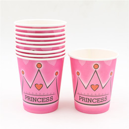 Wholesale Birthday Girl Cup - Wholesale-10pcs Princess crown theme Paper cups girl birthday party supplies Drinking cup baby shower wedding decoration