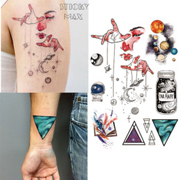 Wholesale geometric tattoos - W15 Outer Space Universe Temporary Tattoo with Space Geometric, Planet, Astronaut Pattern body paint Tattoos