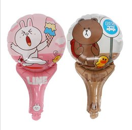 Wholesale Brown Foil Balloons - 2017 New Children Toy 16 Inch Bear Brown & Bunny Cony Aluminum Foil Stick Automatic Sealed Reusable Balloons, DHL free shipping
