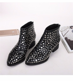 Wholesale Low Heel Boots For Women - 2016 Winter AW Newest Susanna Studded Leather Buckle Ankle Boots For Women Round Toe Strong Cozy Heels Shoes Women zapatos mujer