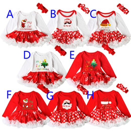 Wholesale Tulle Rompers Baby - New Baby Kids Christmas Clothes Rompers For Babies Girls Xmas Dot Onesies Tutu Dress With Handband Babies Rompers Tutu Dress Clothing Sets
