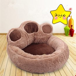 Wholesale Dog Kennel Puppy - Paw Cute Cartoon Design Pet Puppy Bed Cushion House Kennel Warm Soft Flannel Cat Dog Beds Mats Animals Supplies