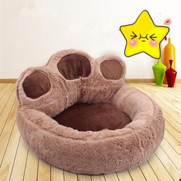 Wholesale Pet Supplies Beds - Paw Cute Cartoon Design Pet Puppy Bed Cushion House Kennel Warm Soft Flannel Cat Dog Beds Mats Animals Supplies