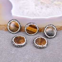 Wholesale Loose Tiger Eye Beads - 10pcs Nature Tiger Eye Druzy Connector Loose Beads, Round shape Crystal Zircon Paved Tiger Eye Gemstone Beads Jewelry Findings