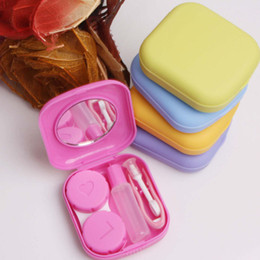 Wholesale Contact Lens Cases Mirrors - 1X Pocket Mini Contact Lens Case Travel Kit Easy Carry Mirror Container Holder