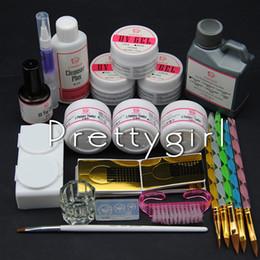 Wholesale Liquid Gel Nail Kits - Wholesale- COSCELIA 3PCS UV Gel Set Acrylic Powder Kit 120ml Acrylic Liquid UV TopCoat Gel Nail Forms Brushes Set Files Nail Tools Kit