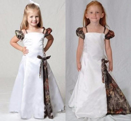 Wholesale Prom Camouflage Dresses - 2017 Camo Flower Girl Dresses For Wedding Spaghetti Cap Sleeve A Line Girls Pageant Gowns Kids Party Dresses Camouflage Kid Prom Dresses