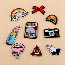 Wholesale Lipstick Accessories - GPS-45 Multicolorl Embroidery Patches rainbow Iron On Patch Bow tie Lipstick camera Badge Applique Craft Clothes Accessories for cloth