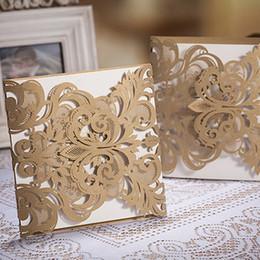 Wholesale Wedding Invitations White Sheet Card - Wholesale- 100 Pcs Lot, Dark Gold Laser Cut Art and White Sheet Wedding Invitations Cards with Envelopes and Seals, Free Printing