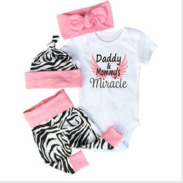 Wholesale Zebra Kids Hat - Kids Clothes Set Daddy & Mommy's Miracle Toddler Girls Birthday Outfits Short Sleeve T-shirt Romper+Zebra Pants+Headband+Hat 4 Pieces Set