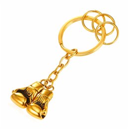 Wholesale Sporting Key Ring - U7 Cool Pair Boxing Glove Men Key Chains Fashion Stainless Steel Workout Jewelry Gold Plated Sport Fitness Charms Accessories Key Rings Gift