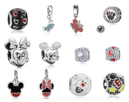 Wholesale Christmas Minnie - Wholesale 12 Styles Mixed Theme 30pcs Silver Bead Charm Mickey and Minnie With Crystal Beads Dangle Fit Women Pandora Bracelet DIY Jewelry