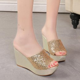 Wholesale Gold Muffin - Women Summer Fashion Korean Waterproof High Heels Sandals Muffin Bottom Wedges Slippers Shoes 35-39