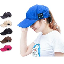 Wholesale Cap For Usb - Hot Wireless Bluetooth Headphone Sports Baseball Cap Canvas Sun Hat Music Handsfree Headset with Mic Speaker for Smart Phone with Retail Box