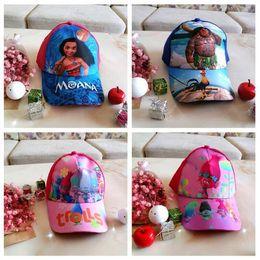 Wholesale Children Hip Hop Costumes - New Moana Hat Trolls Cap Baseball Caps Children Sun Hat Unisex Hip Hop Costume Cartoon Trucker Visor Snapback CCA6857 60pcs