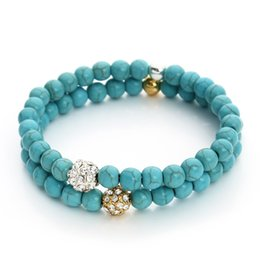 Wholesale 14k Turquoise Bracelet - Wholesale-2016 New Boho Style Blue Turquoise Bead Bracelet Fashion Crystal Gold Rhodium Plated Stretch Beaded Bracelets for Women F3238