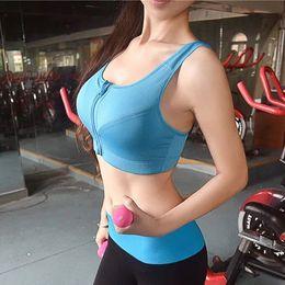 Wholesale Tank Top Underwear Women - Professional Front Zip Sport Bra Top Fitness Gym Women Vest Seamless Padded Yoga Bras Training Tank Top Push up Running Underwear